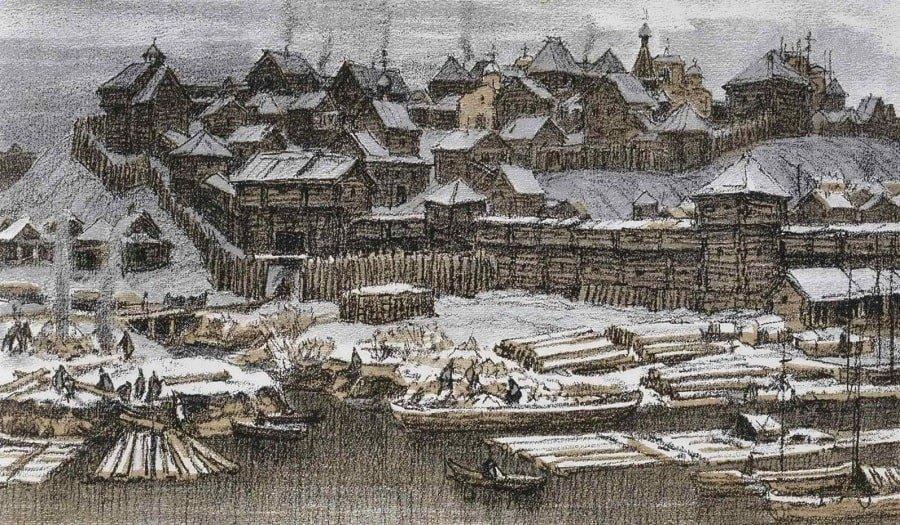 Картина деревянного Кремля